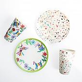 뱀부 대나무식기 마블 피크닉 캠핑 디저트 접시 점박이 컵